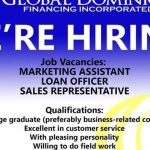Marketing Assistant, Loan Officer, Sales Representative